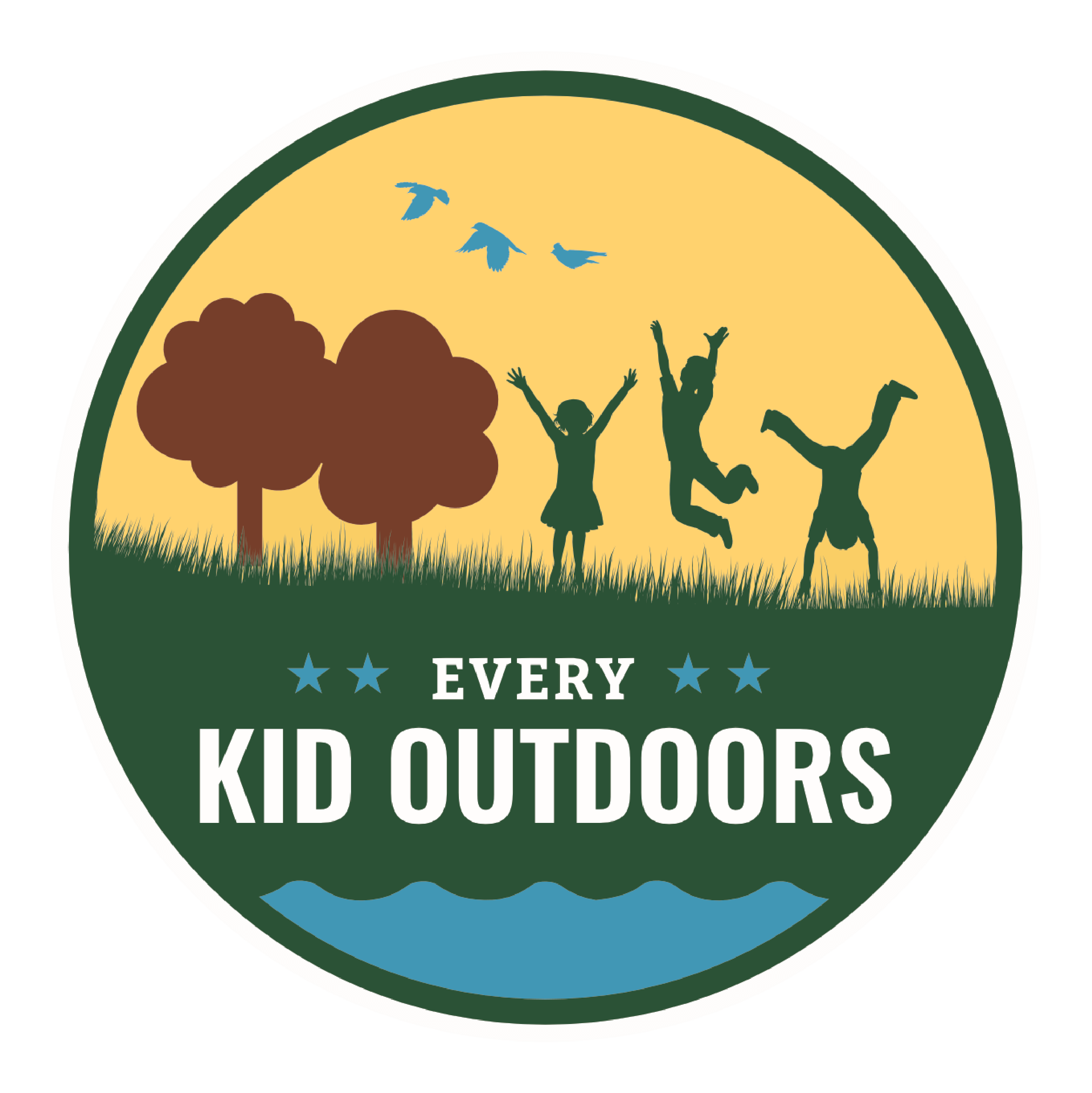 Every kid outdoors logo image with children playing in a field