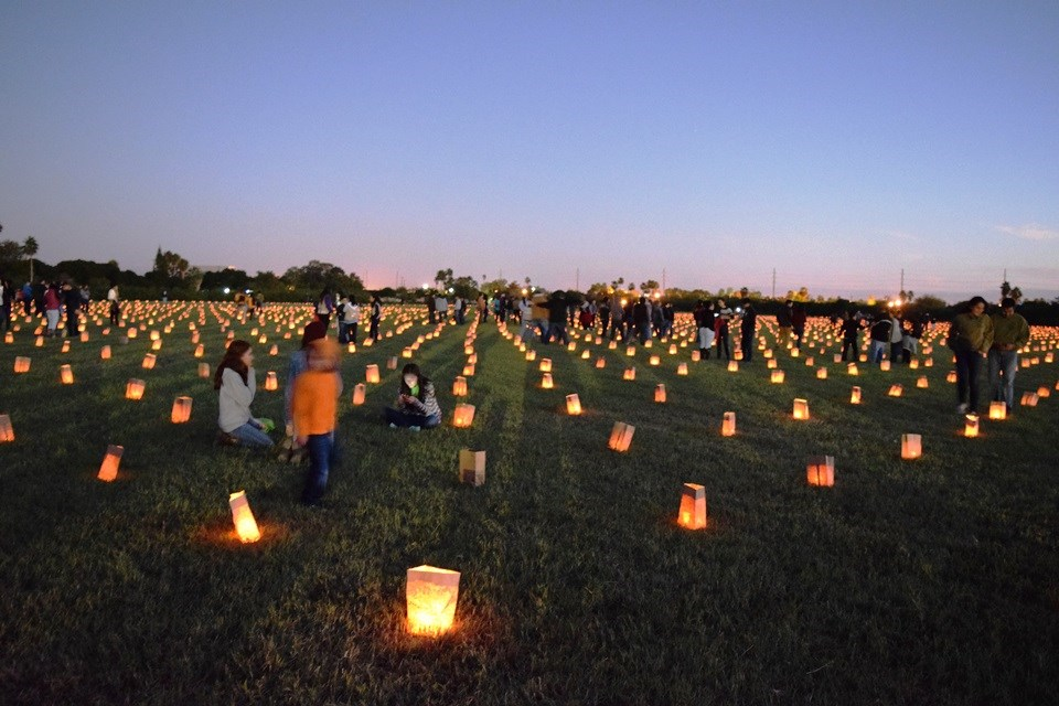 Battlefield laid out with luminarias