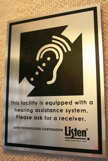 Hearing assistance device sign