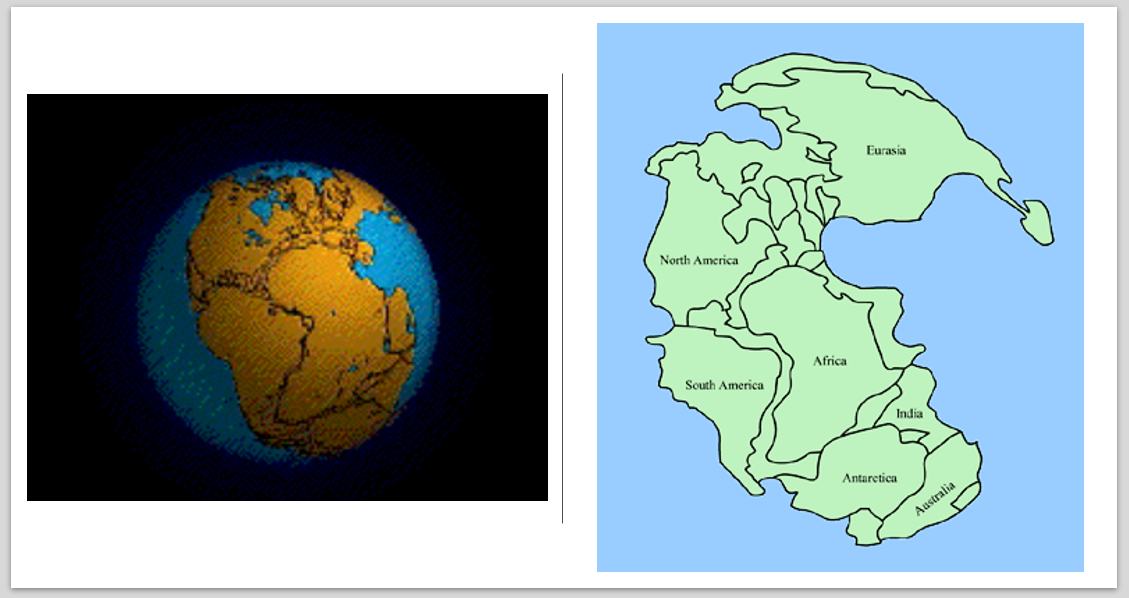 World view showing the supercontinent, Pangea. The seven continent bound together into one land mass.
