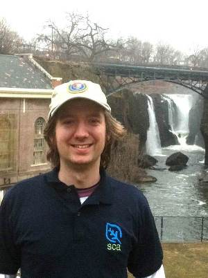 Intern Keith in front of Great Falls of Paterson
