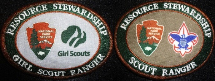 Image of both Boy and Girl Scout patches