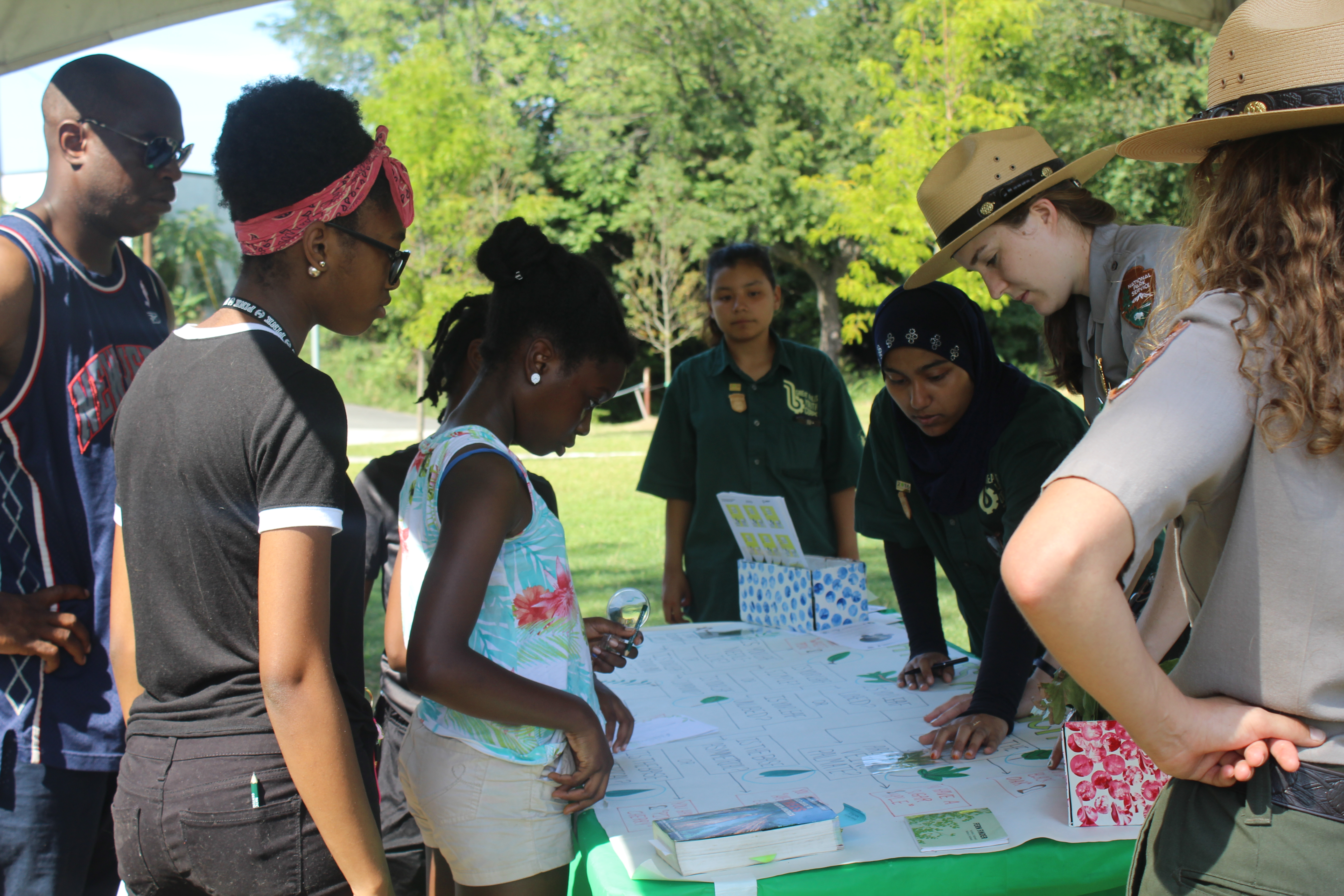 Park Rangers demonstrating how to use a dichotomous key.