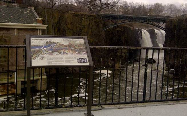 The new wayside exhibit overlooking the Great Falls