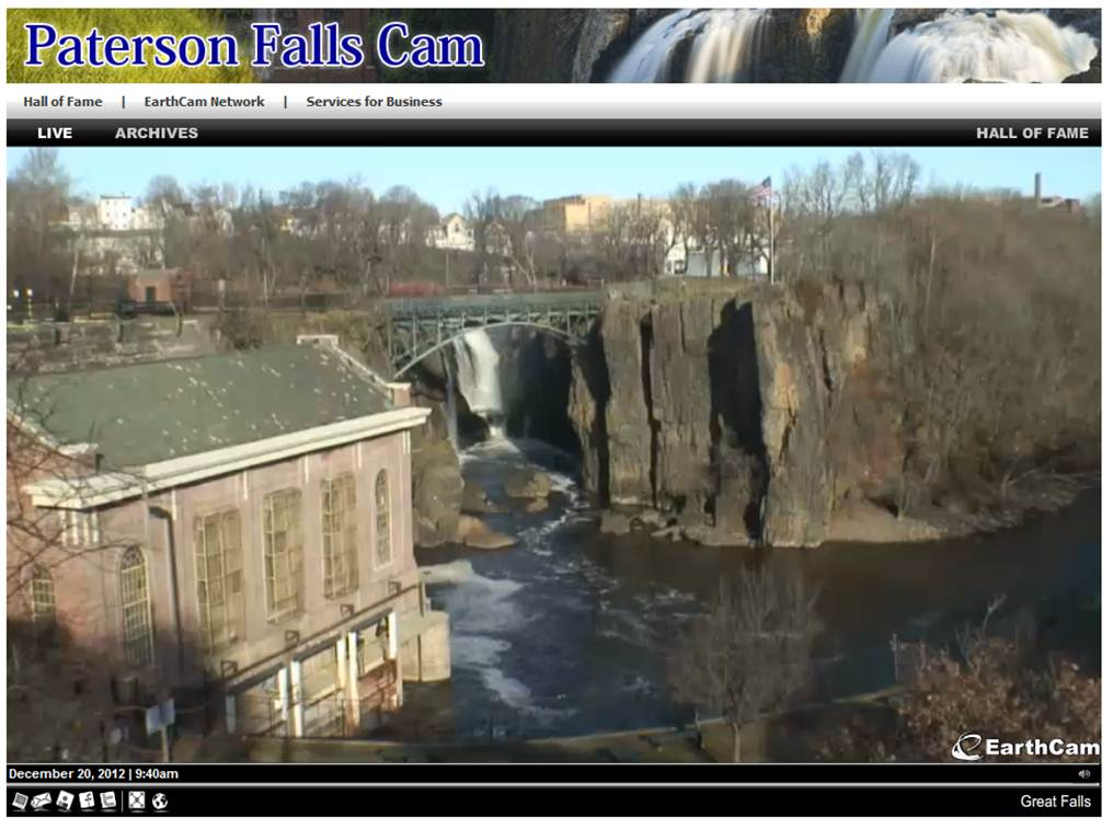 Enjoy the sites and sounds of the Great Falls of the Passaic through the lens of the Paterson Falls Cam