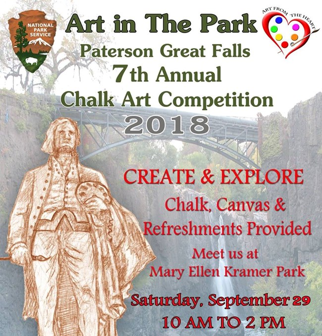 Art in the Park Flyer listing the details of the special event in green and red text.