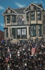 This painting is a depiction of strikers gathered outside of the Botto House in Haledon, New Jersey.