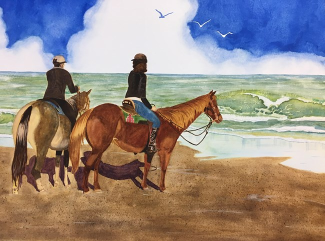 Watercolor painting of two horses and their riders on the beach with bright blue sky and waves in the background