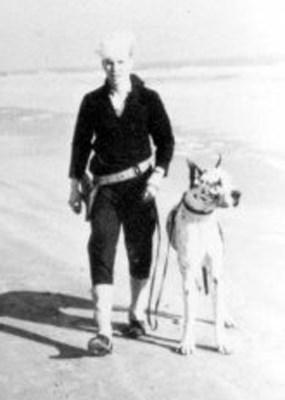 Coast Guard enlisted man patrolling the beaches of Padre Island during the Second World War