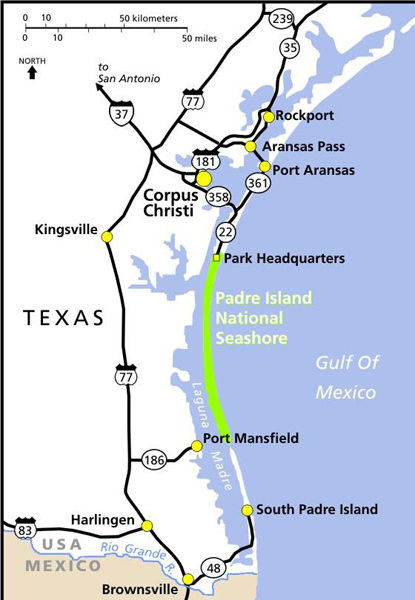 Maps Padre Island National Seashore US National Park Service - South texas map with cities