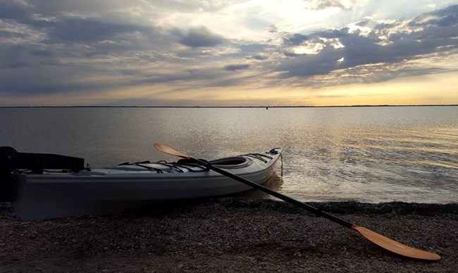 Kayak at the Laguna Madre during sunset