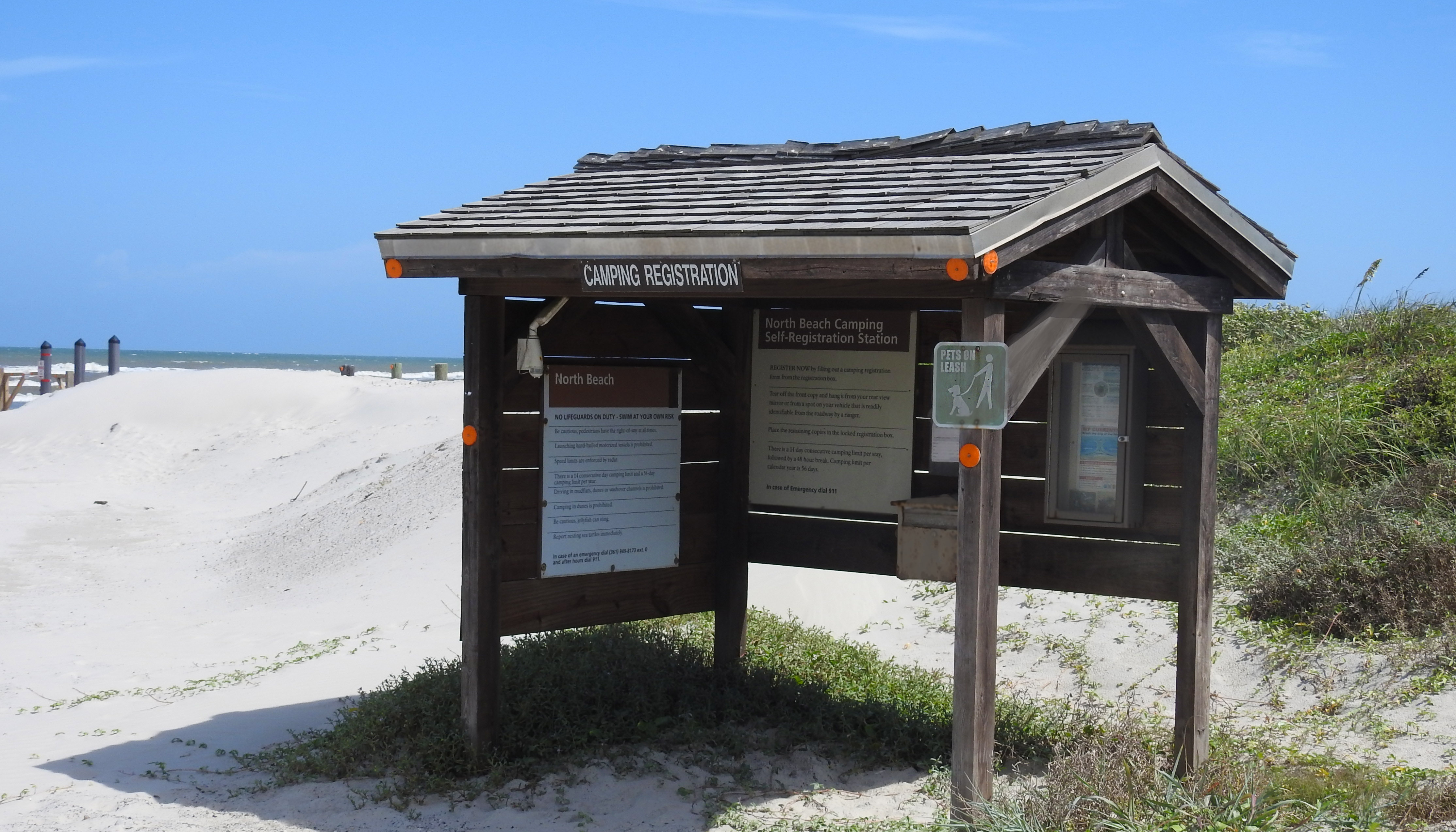 Self registration kiosk for camping permits at North Beach