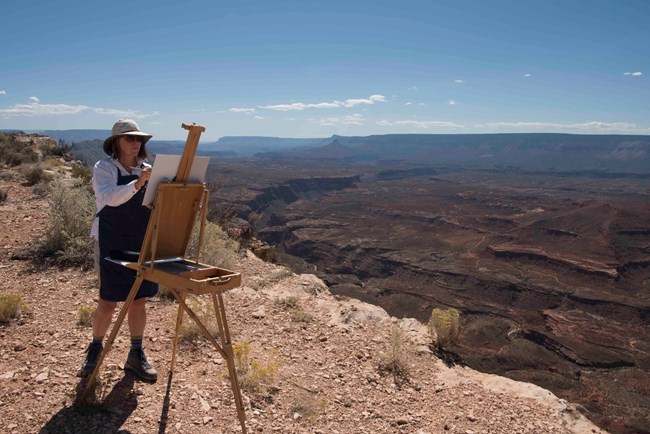 Lisa McShane paints the desert near Whitmore Point