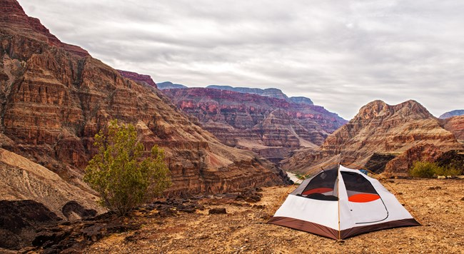 tent set up on middle bench of the Grand Canyon at Whitmore Canyon Overlook