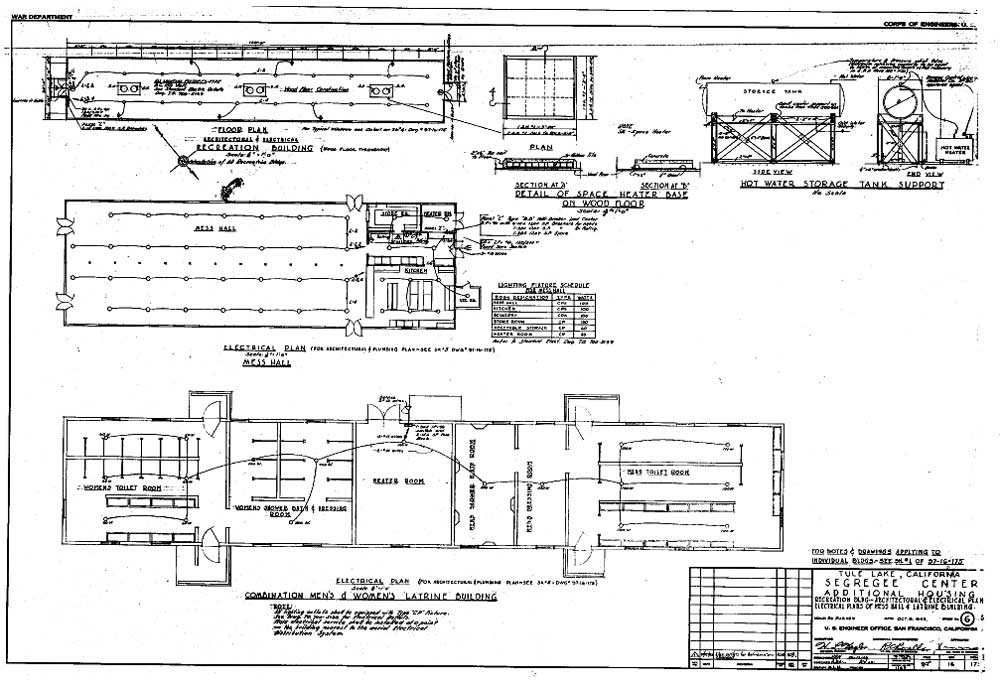 Additional Housing Recreation Building Architectural And Electrical Plan Electrical Plans Tule Lake Relocation Center