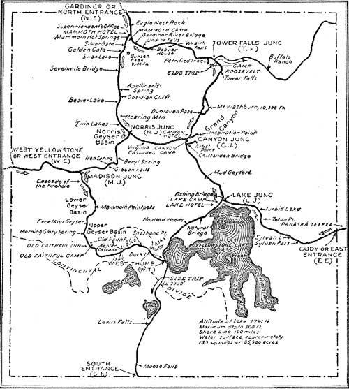 on yellowstone accommodations map