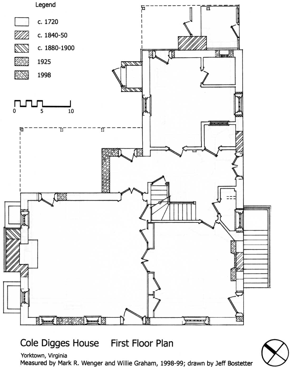 Colonial nhp cole digges house historic structures for Window floor plan