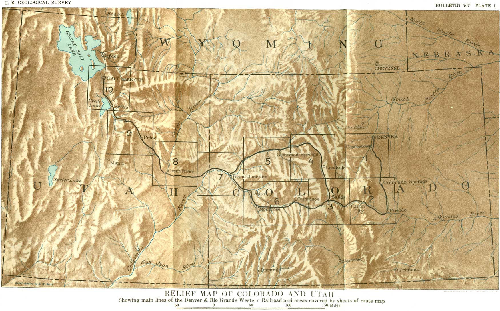 I Relief Map Of Colorado And Part Of Utah Showing Main Lines Of The Denver Rio Grande Western Railroad And Areas Covered By Sheets Of Route Map