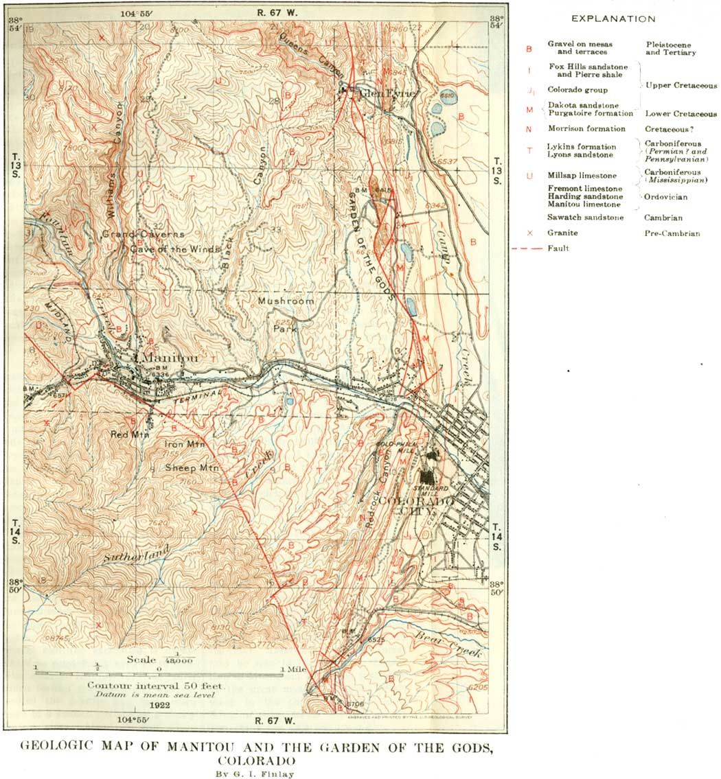 Garden Of The Gods Colorado Map.Usgs Geological Survey Bulletin 707 Itinerary