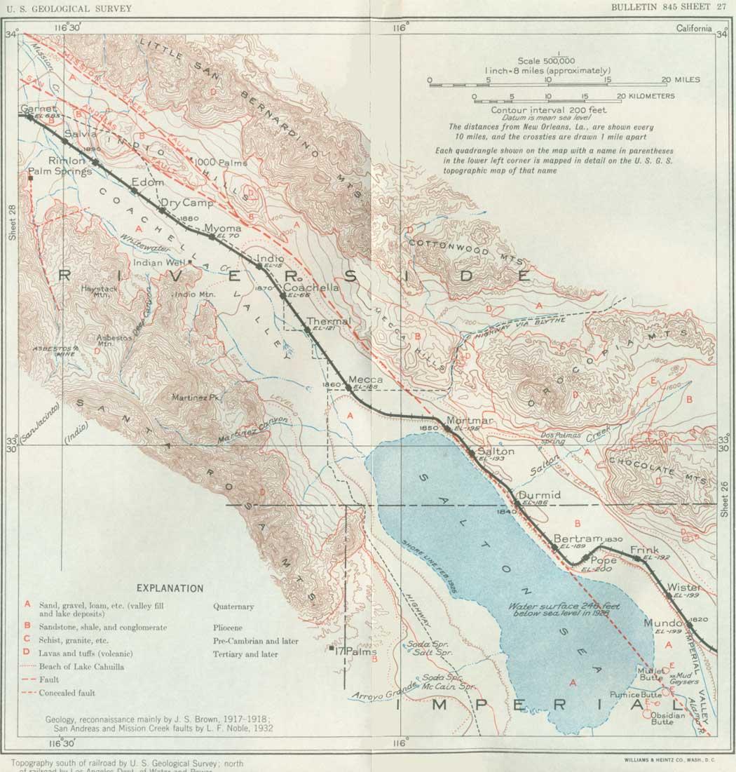 1000 Palms California Map.Usgs Geological Survey Bulletin 845 Itinerary