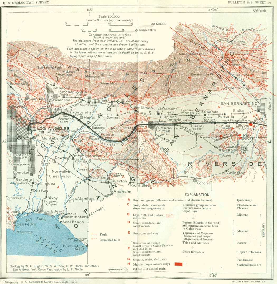 USGS Geological Survey Bulletin  Contents - Los angeles fault zone map