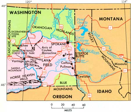 USGS The Channeled Scablands Of Eastern Washington Geologic Setting - Map eastern washington