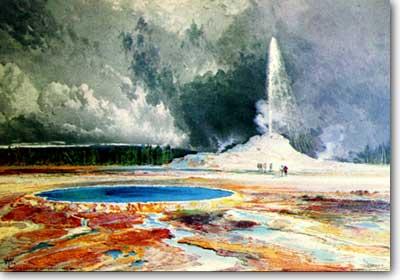 Moran watercolor of Castle Geyser