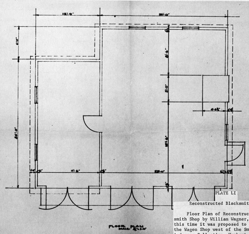 blacksmith workshop layout. reconstructed blacksmith shop. floor plan of shop by william wagner, 1956. at this time it was proposed to construct the wagon workshop layout