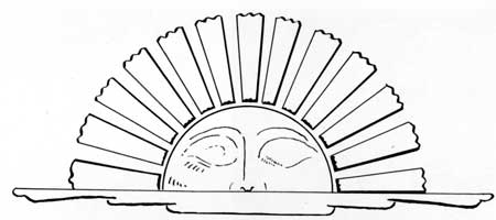 Detail Sketch Of Rising Sun On Back Of Speakeru0027s Chair In Assembly Room.