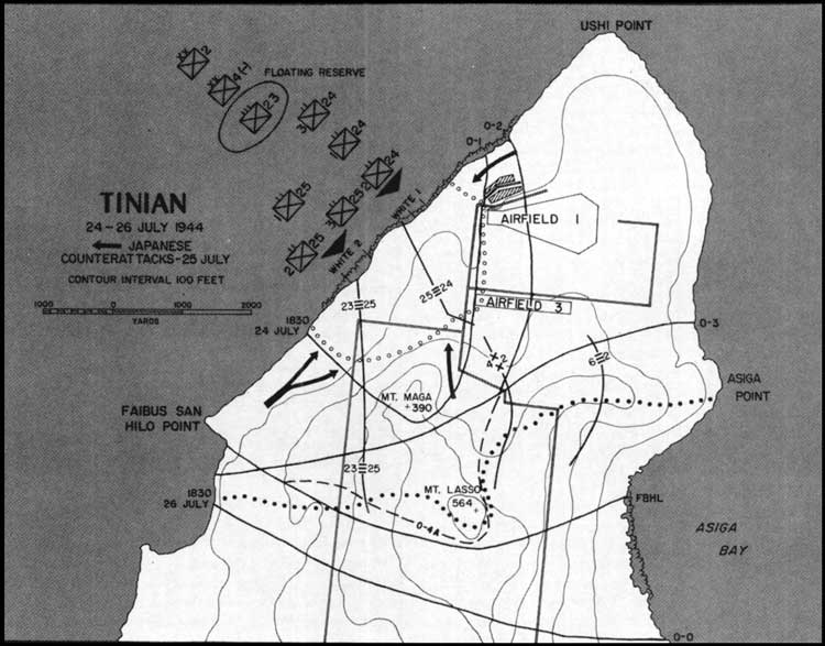 A Close Encounter The Marine Landing On Tinian Counterattack
