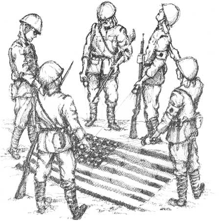 war in the pacific nhp the defense of guam Guam Marine Base sketch of insular force guardsmen