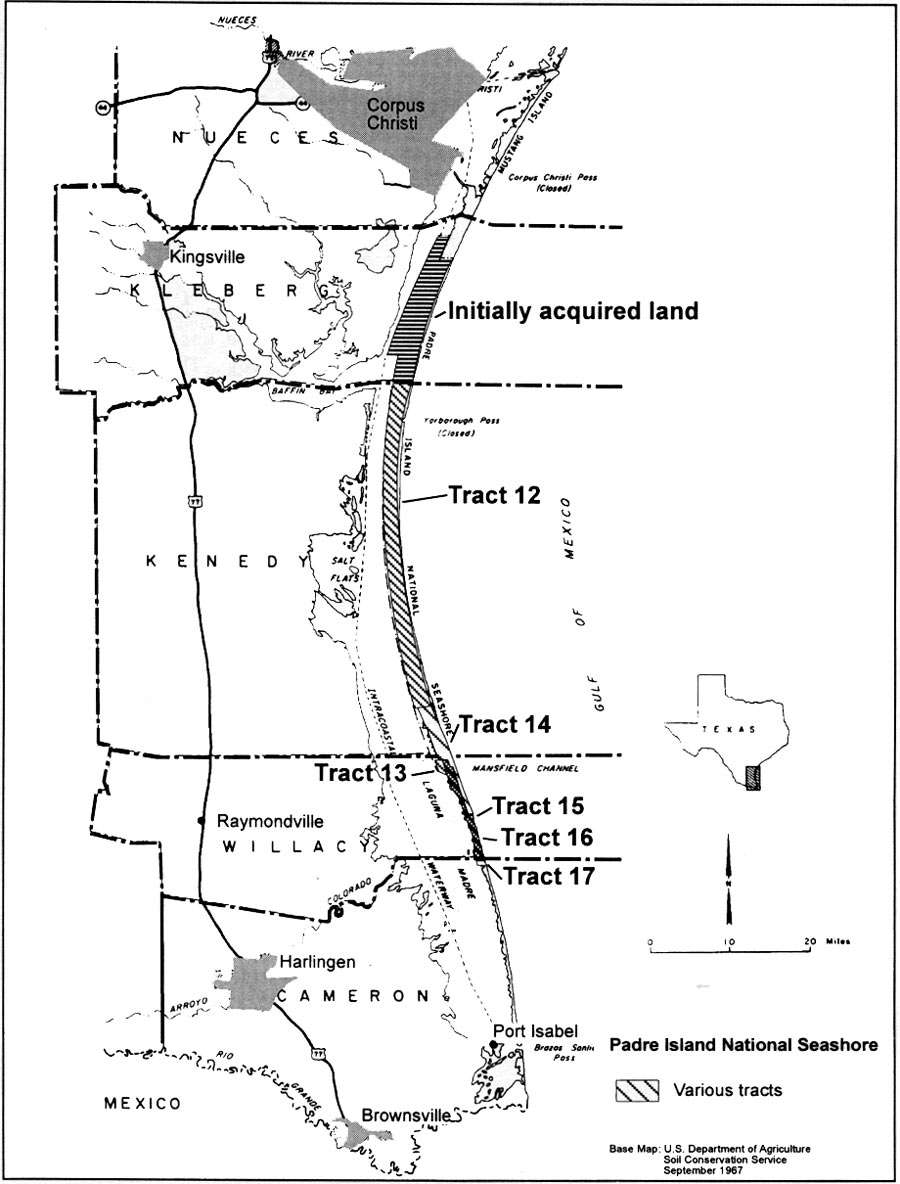 Padre Island NS Administrative History Chapter - Us land acquisition map