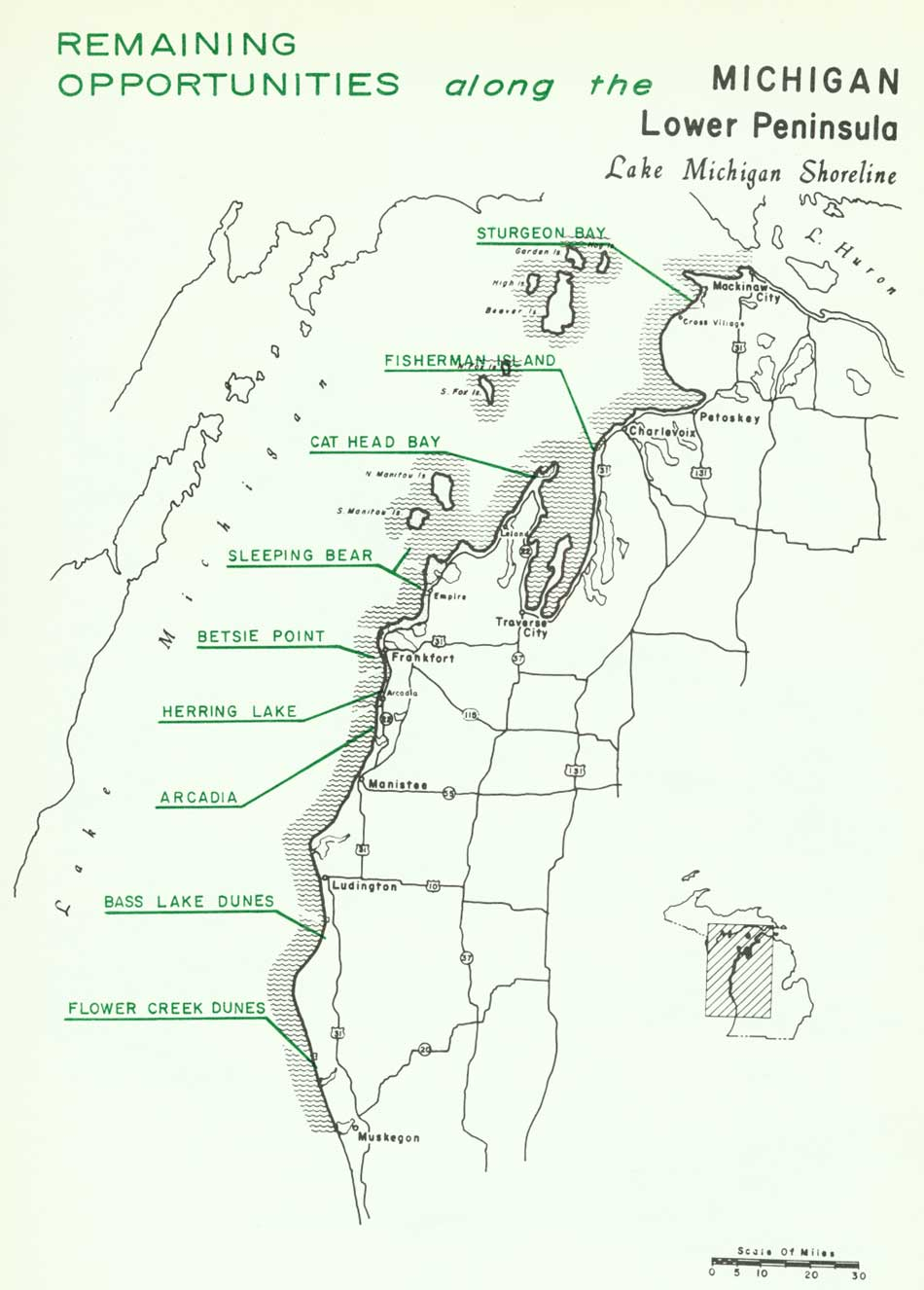National Park Service Great Lakes Shoreline Recreation Area Survey - Michigan coastline map
