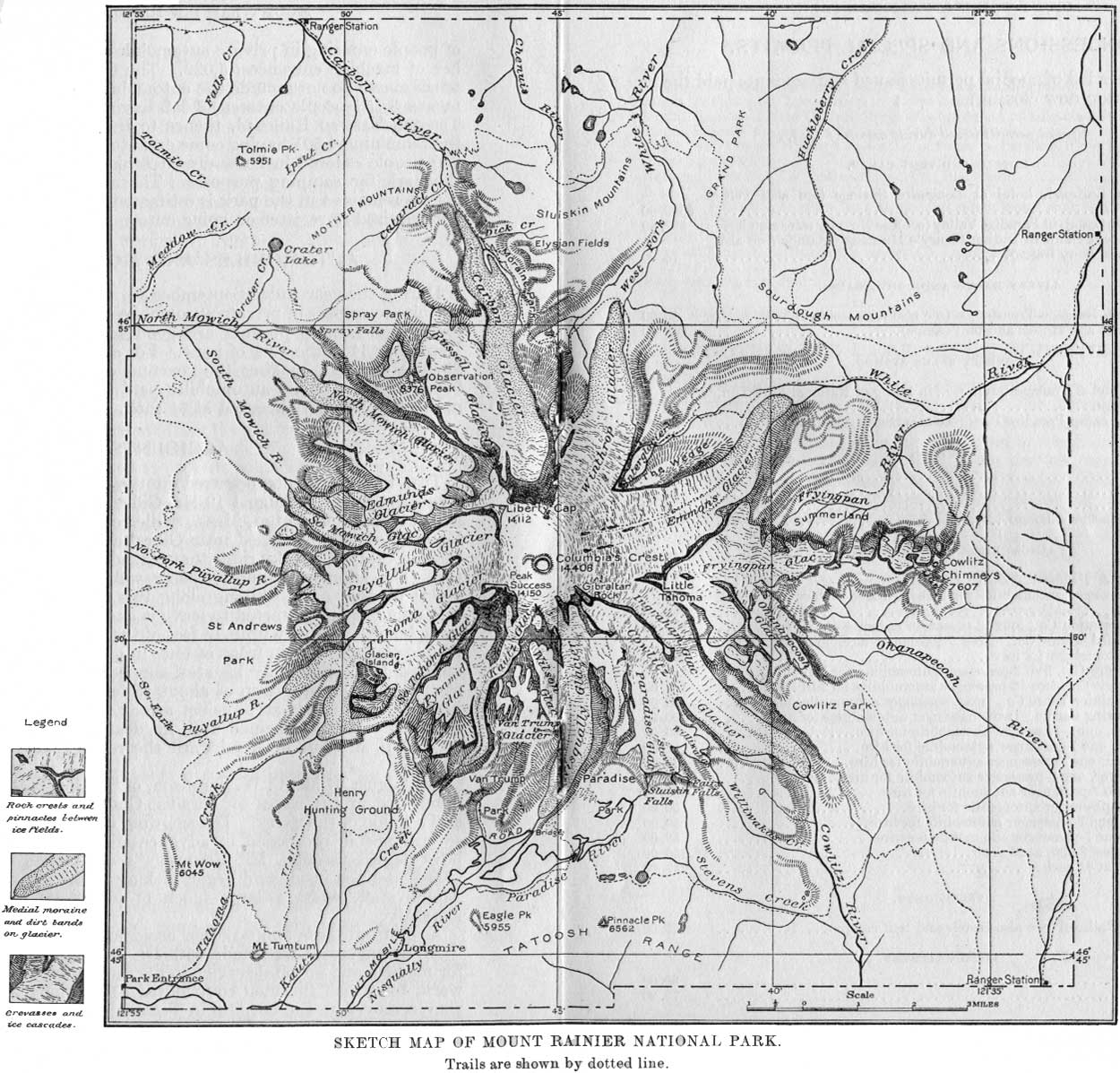 Mt Rainier Topographic Map.National Park Service Superintendent S Annual Reports Mount