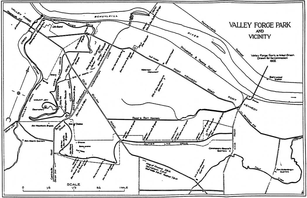 Map Of Valley Forge Park 1908