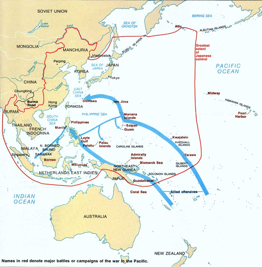 pacific battles map War In The Pacific Nhp Park Brochure pacific battles map