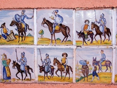 Tiles depicting scenes from Don Quixote