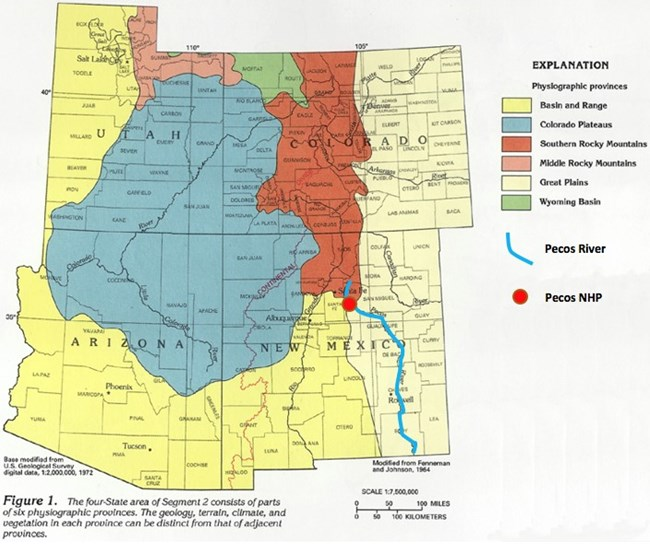 physiographic map of utah, colorado, arizona, and new mexico