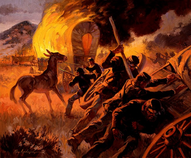 Painting of the burning of wagon train at Apache Canyon