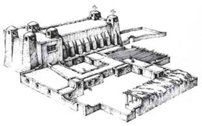 A drawing of the Mission Church and Convento built in 1625