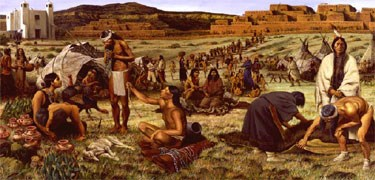 Painting of trade activity among plains and pueblo Indians