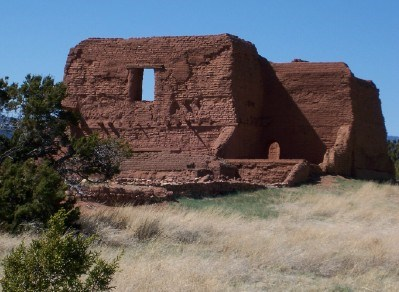18th century adobe church at Pecos, NM
