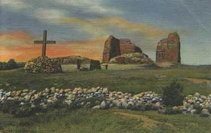 Pecos ruins, cross on left, depicted on hand-tinted postcard