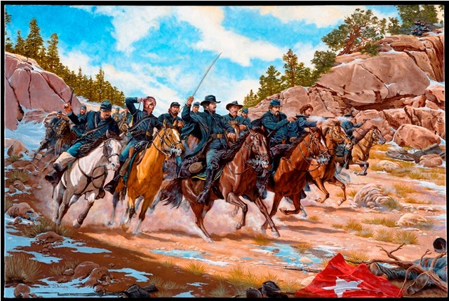 "painting ""Action at Apache Canyon"" by Domenick D'Andrea shows Union army on horseback in battle with Confederates"