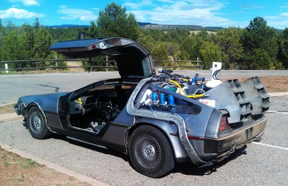Back to the Future car in parking lot