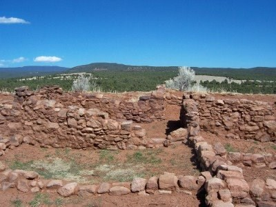 View of excavated foundation, south pueblo