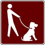 Symbol of person with leashed dog
