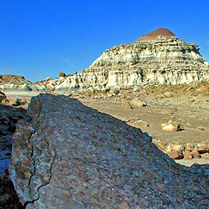 Fossil clam beds and badlands