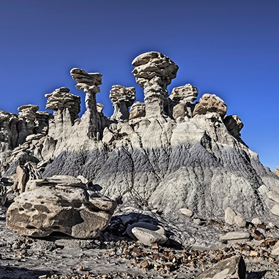 Hoodoos tower at Devil's Playground