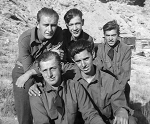Five young men in CCC uniforms